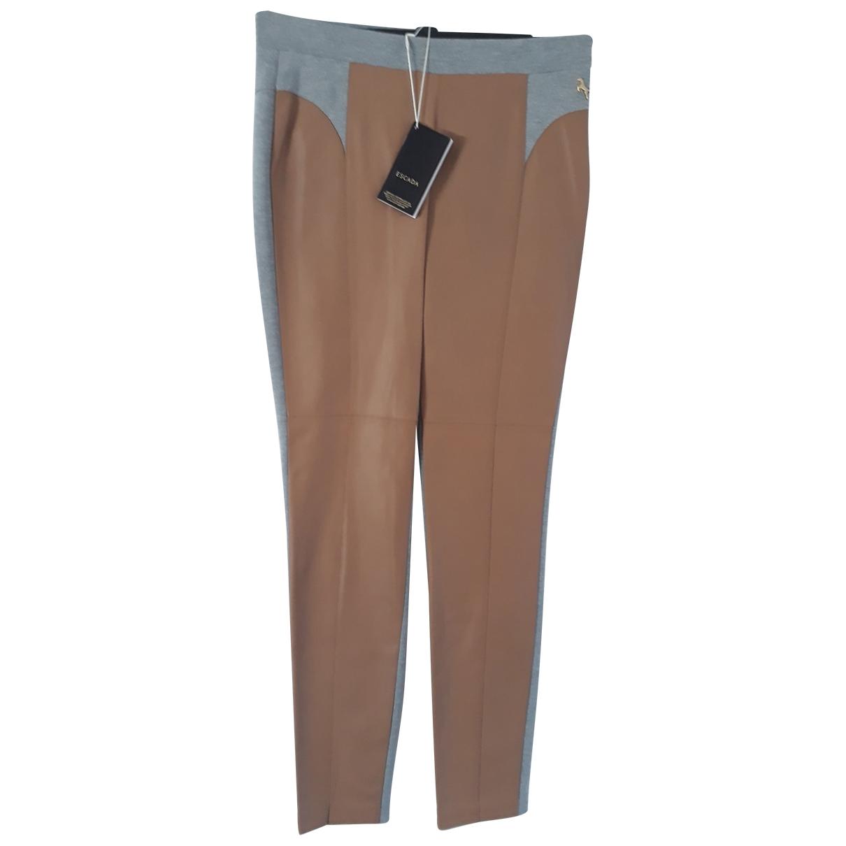 Escada \N Camel Leather Trousers for Women 40 FR
