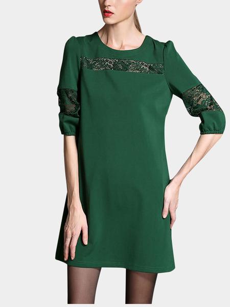 Yoins Plus Size Green Lace Insert Dress