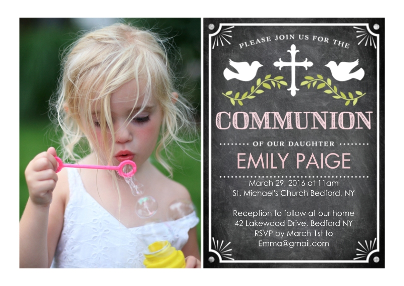 Communion 5x7 Cards, Premium Cardstock 120lb, Card & Stationery -Communion Doves with Cross