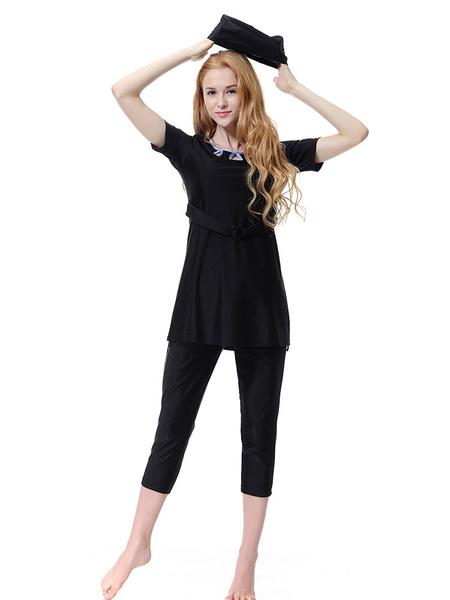 Milanoo Burkini 3 Piece Muslim Swimwear Short Sleeve Keyhole Nylon Beach Bathing Suit
