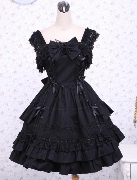 Milanoo Gothic Lolita Dress JSK Black Ruffles Bow Lace Trim Lolita Jumper Skirt