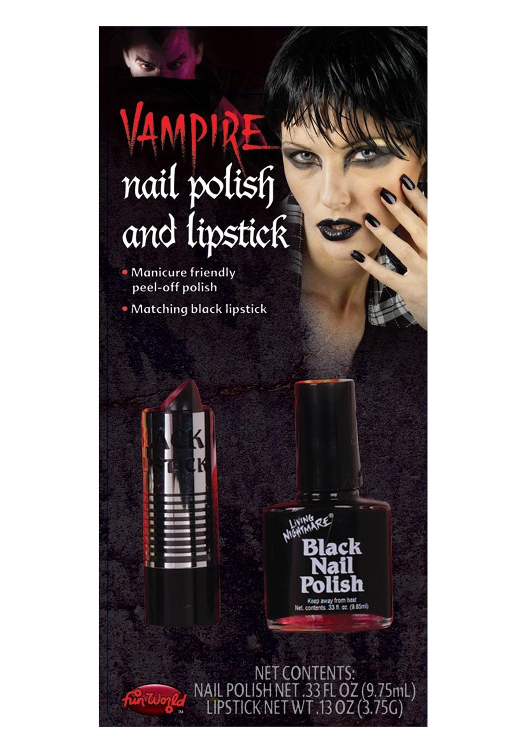 Fun World Black Lipstick and Nail Polish