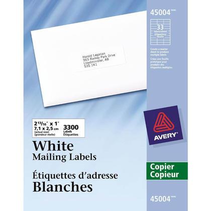 Avery@ mailing blanches etiquettes d'adresse pour les photocopieuses, blanc - 2-13/16 x 1