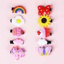 10pcs Toddler Girls Bow & Butterfly Decor Hair Clip