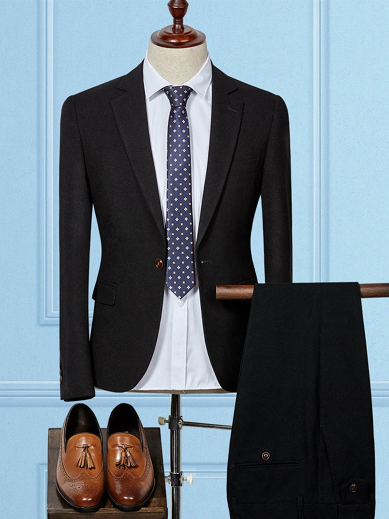 Ericdress Plain One Button Mens Slim Fit Suit
