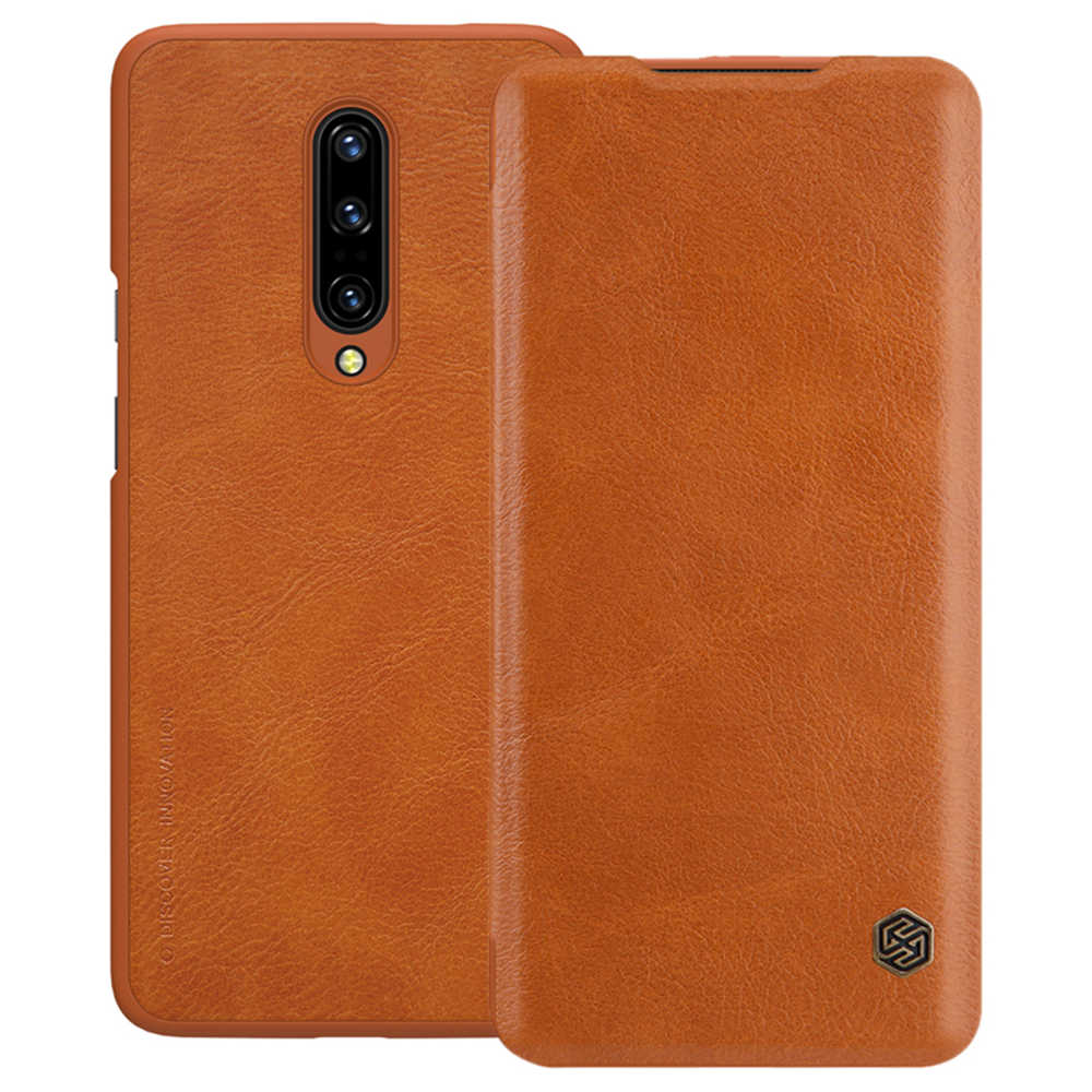NILLKIN Protective Leather Phone Case for Oneplus 7 Pro Back Cover - Brown