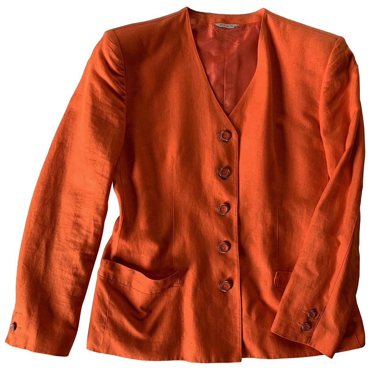 Gianni Versace \N Orange Linen jacket for Women 44 IT