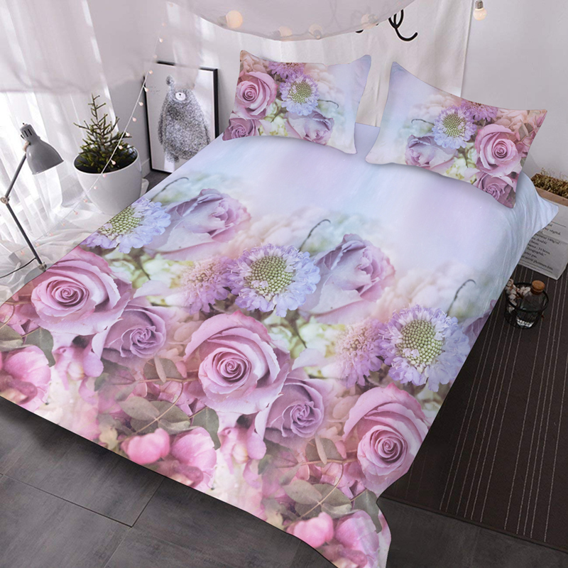 Pink Roses 3 Pieces Microfiber No-Fading Comforter Set 3D Floral Comforter with 2 Pillowcases