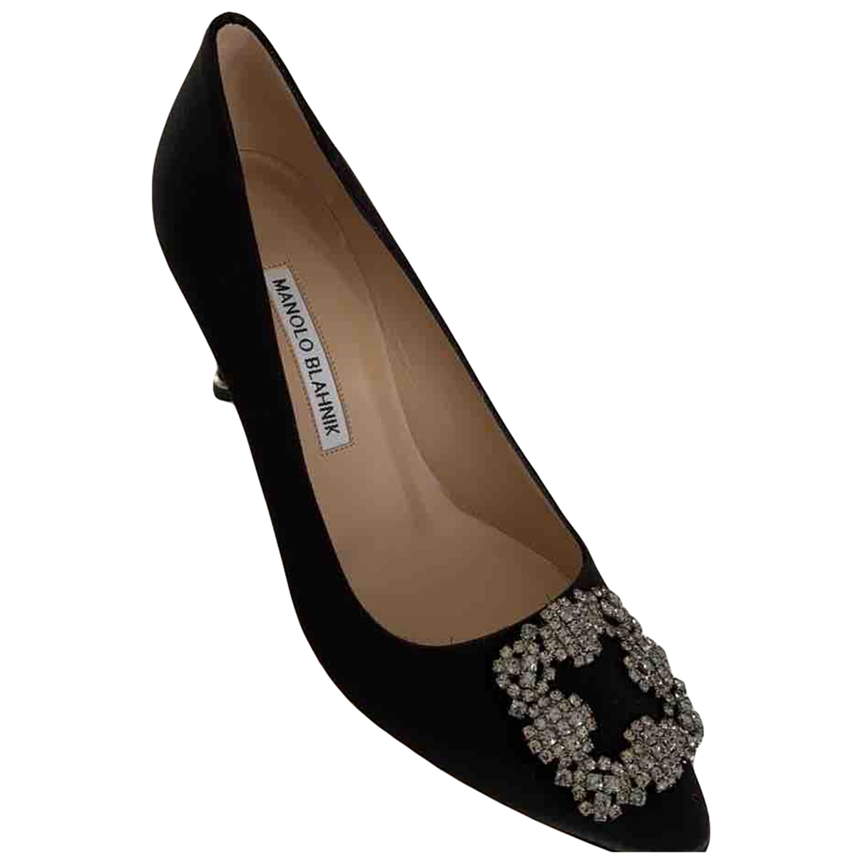 Manolo Blahnik Hangisi Black Cloth Heels for Women 38 EU