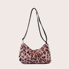 Girls Leopard Fluffy Crossbody Bag