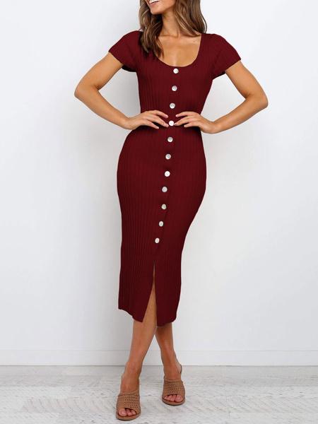 Milanoo Bodycon Dresses Button Up Short Sleeves Sexy Scoop Neck Sheath Dress