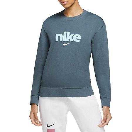 Nike Womens Crew Neck Long Sleeve T-Shirt, Large , Blue