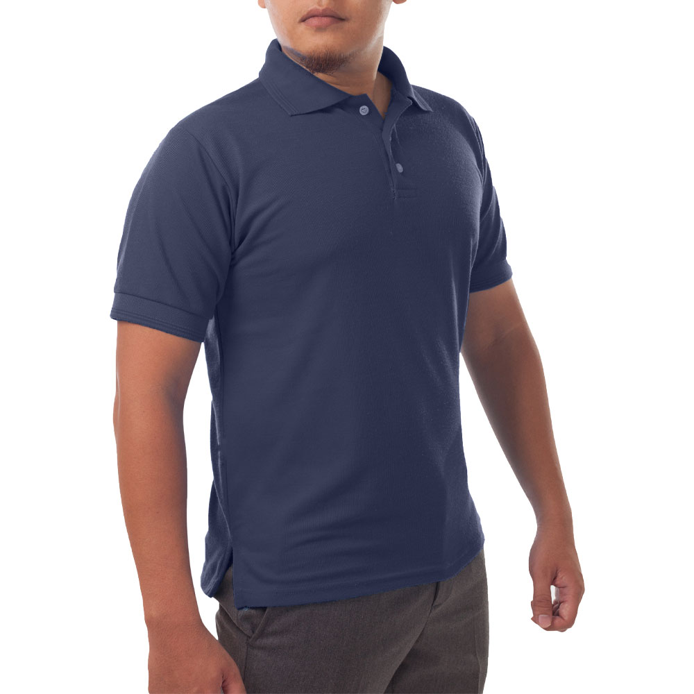 Page & Tuttle Solid Jersey Short Sleeve Polo Golf Shirt Navy- Mens- Size XL