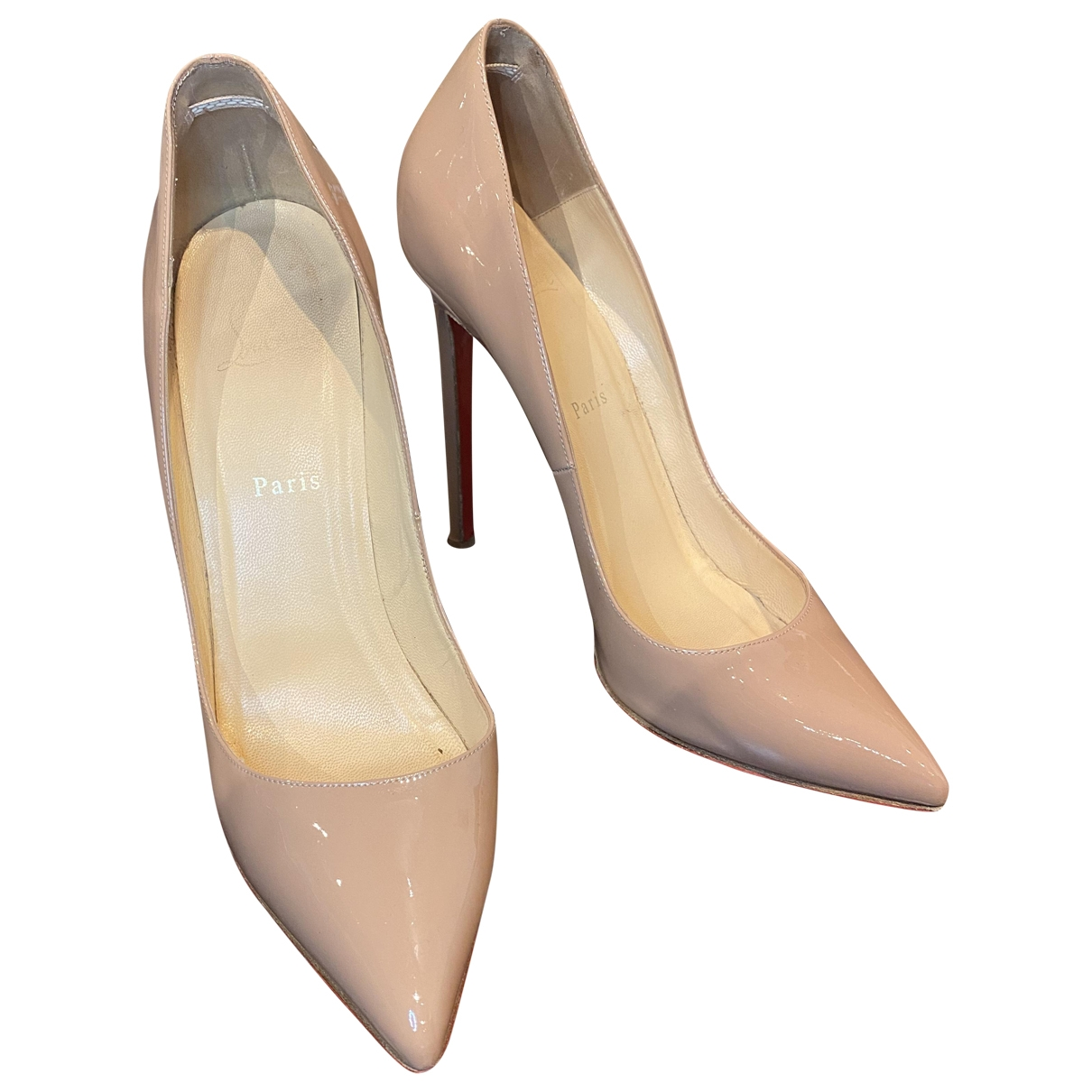 Christian Louboutin Pigalle Beige Patent leather Heels for Women 41 EU