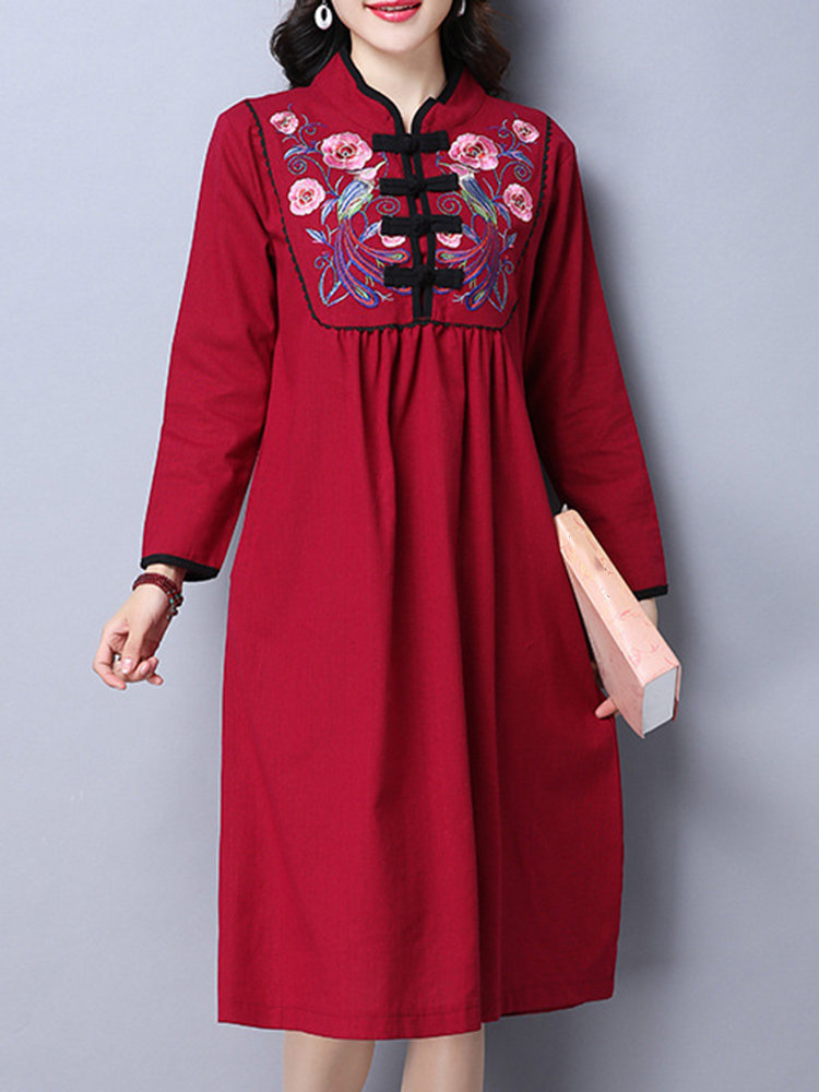 Tribal Style Women Embroidery Stand Collar Chinese Frog Dress
