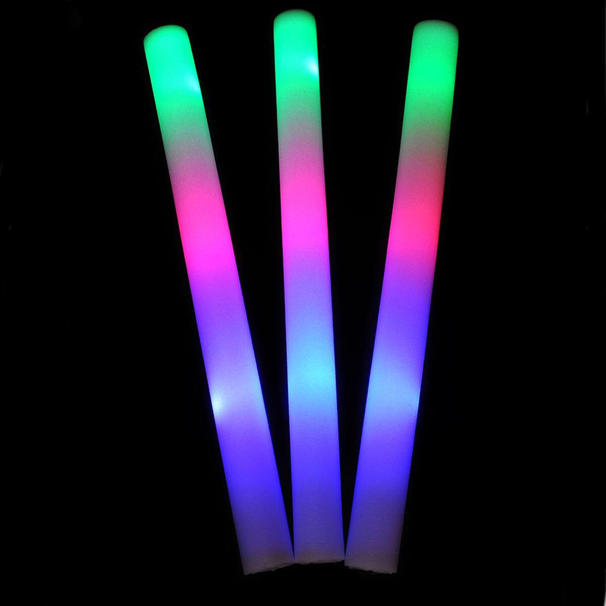 5~48Pcs Light Up Foam Sticks LED Wands Rally Rave Batons DJ Flashing Glow Stick