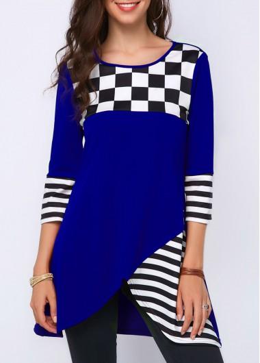 Asymmetrical Plaid Striped Three Quarter Sleeve Top Royal Blue Striped Three Quarter Sleeve T Shirt - M