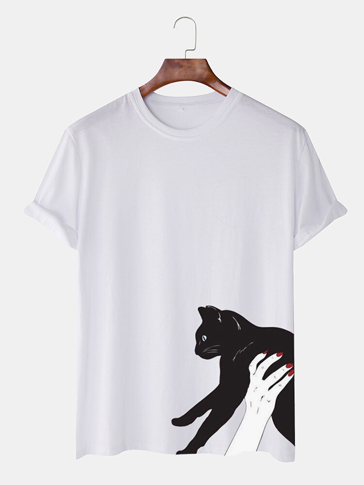 Mens Lovely Cartoon Cat Printed Multi-color Casual T-shirt