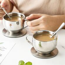 3pcs Stainless Steel Cup & Saucer & Spoon Set