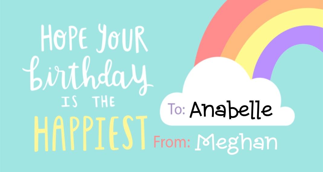Birthday Gift Tags, Card & Stationery -Happy Rainbow Birthday