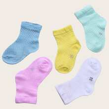 5pairs Girls Number Detail Solid Socks