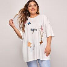 Plus Patched Detail Longline Oversized Tee