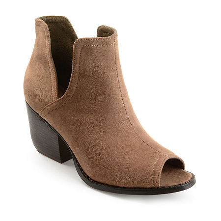 Journee Collection Womens Jordyn Stacked Heel Pull-on Booties, 8 Medium, Brown