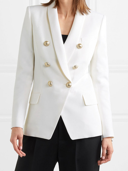 Milanoo Women Blazer Fashion Turndown Collar Buttons Long Sleeves