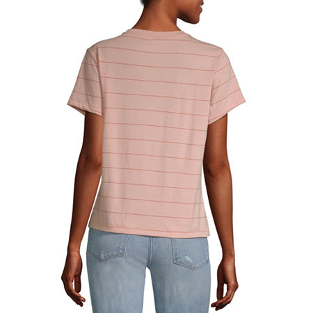 Arizona Juniors-Womens Crew Neck Short Sleeve T-Shirt, Xx-large , Pink
