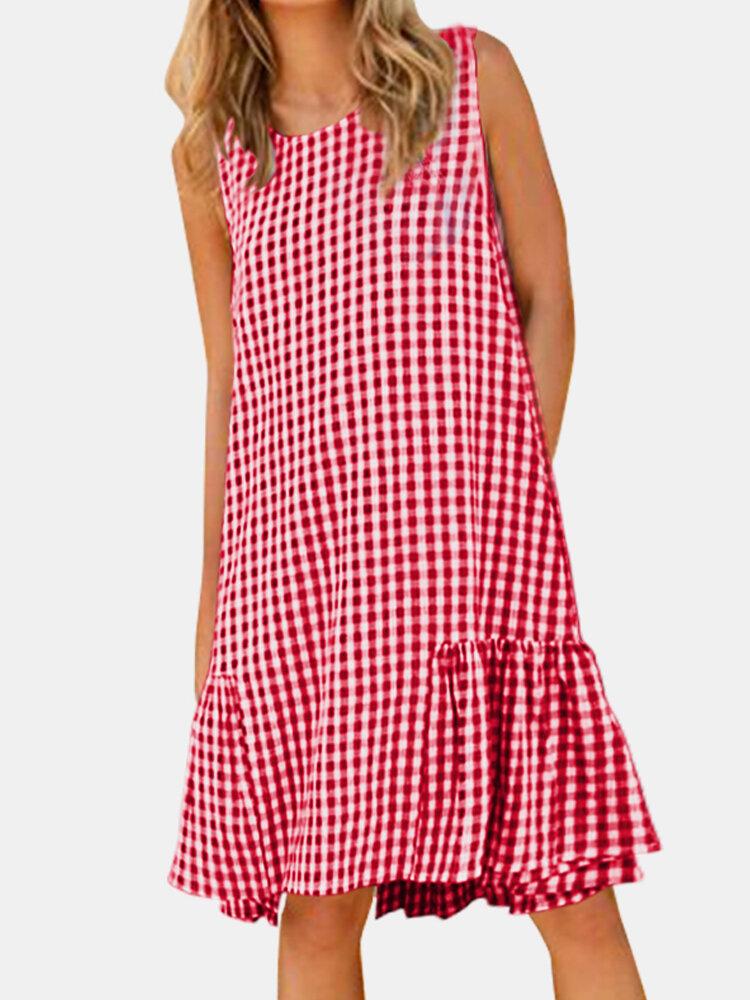 Women's Plaid Print Round Neck Sleeveless Casual Dress