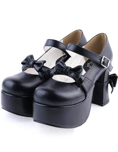 Milanoo Matte Black Lolita Chunky Heels Shoes Platform Bows Decor Buckle
