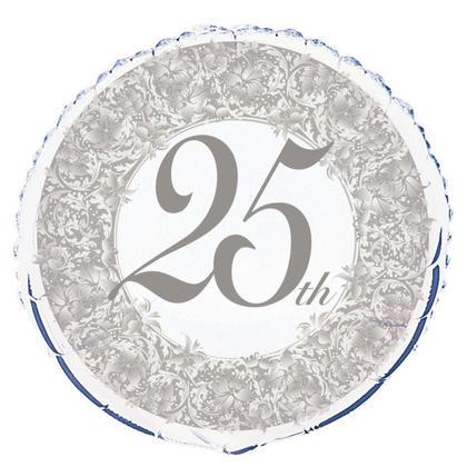 Ballon rond argenté 25e anniversaire 18