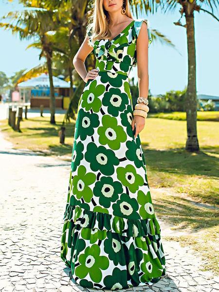 Milanoo Green Maxi Dresses Women Sleeveless V-Neck Printed Backless Long Dress