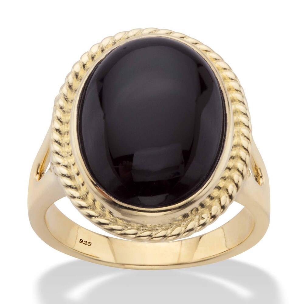 Yellow Gold over Sterling Silver Oval Natural Black Onyx Banded Halo Ring (8)