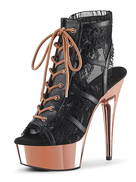 Milanoo Sexy High Heel Boots Peep Toe Lace Up Zipper Stiletto Heel Rave Club Black Sexy Ankle Boots