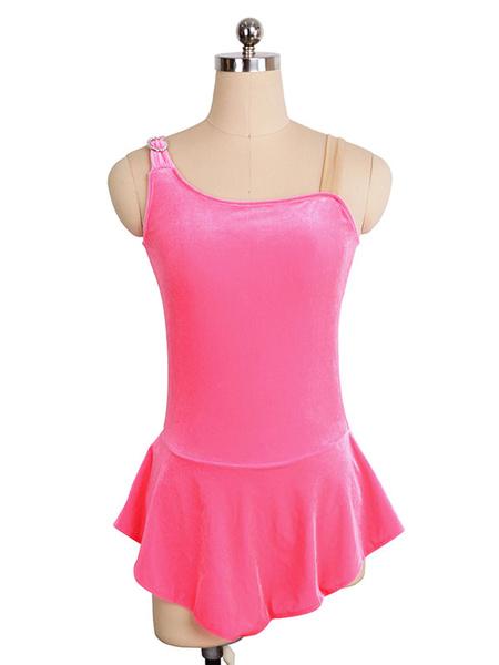 Milanoo Skating Dress Pink Korean Velvet Sleeveless Dance Costumes