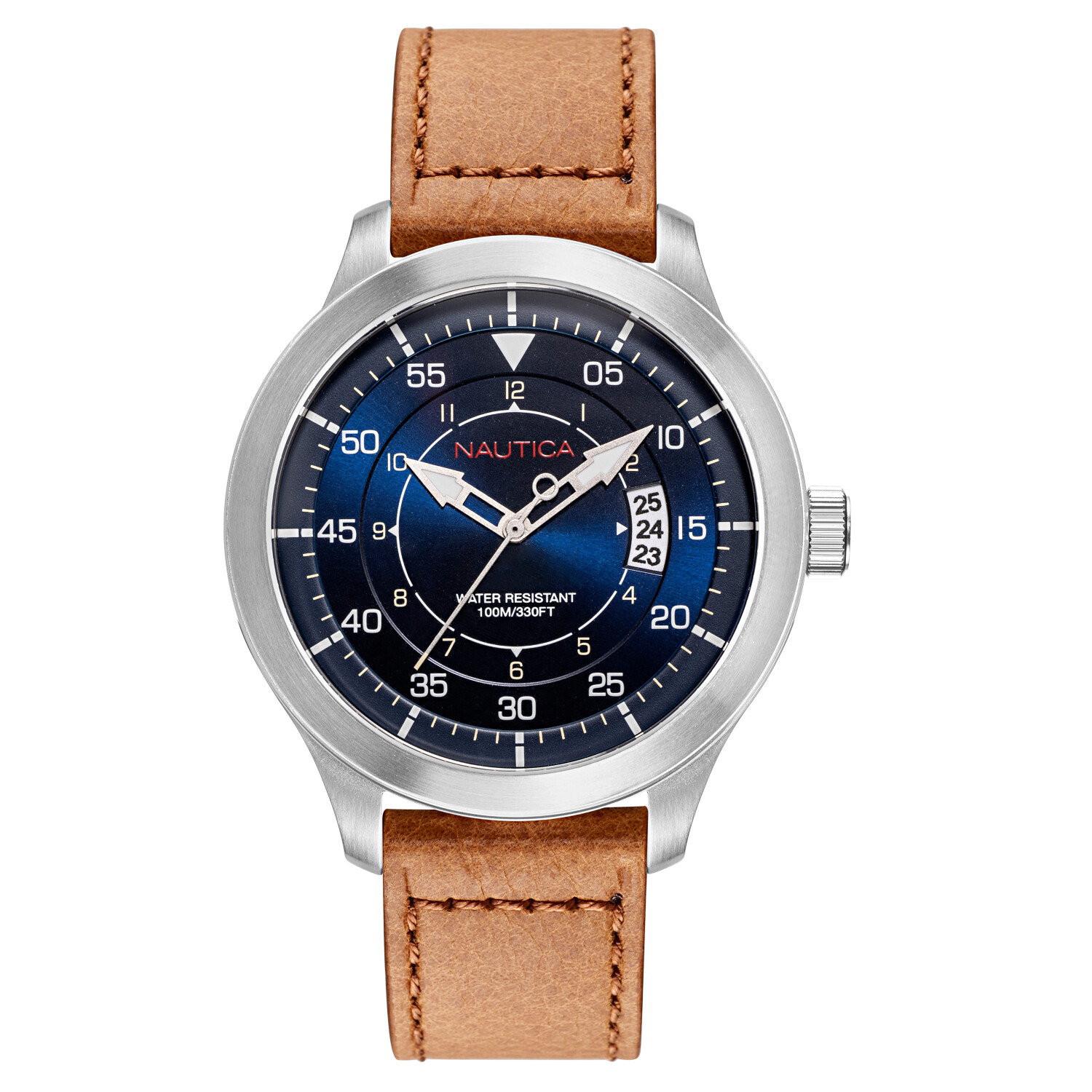 Nautica Watch NAPPLP901 Point Loma Analog, Water Resistant, Date Display, Luminous Hands, Brown Leather Band, Blue