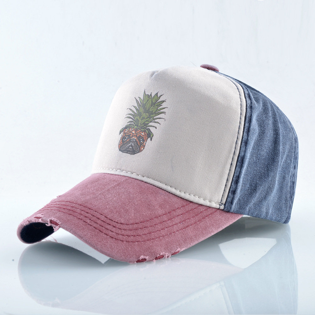 Unisex Pineapple Baseball Cap Washed Cap Studded Hip Hop Cap