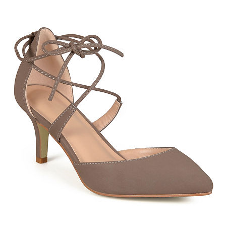 Journee Collection Womens Cairo Pumps Lace-up Pointed Toe, 9 Medium, Beige