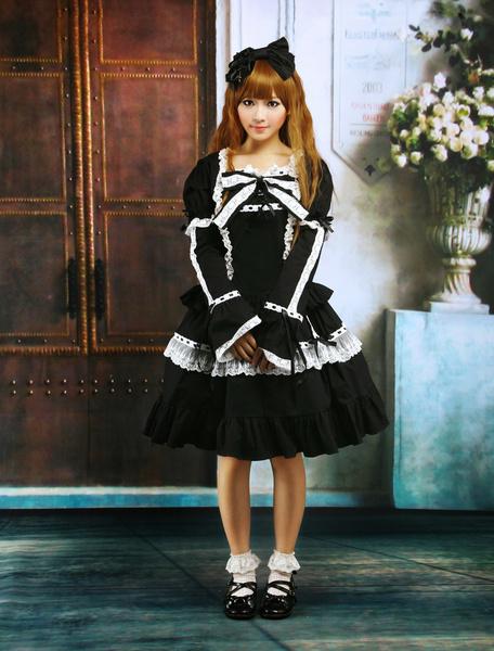 Milanoo Cotton Black Lace Bow Lolita Dress Outfit