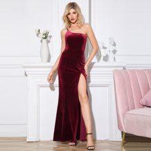 Double Crazy One Shoulder Split Thigh Velvet Maxi Dress