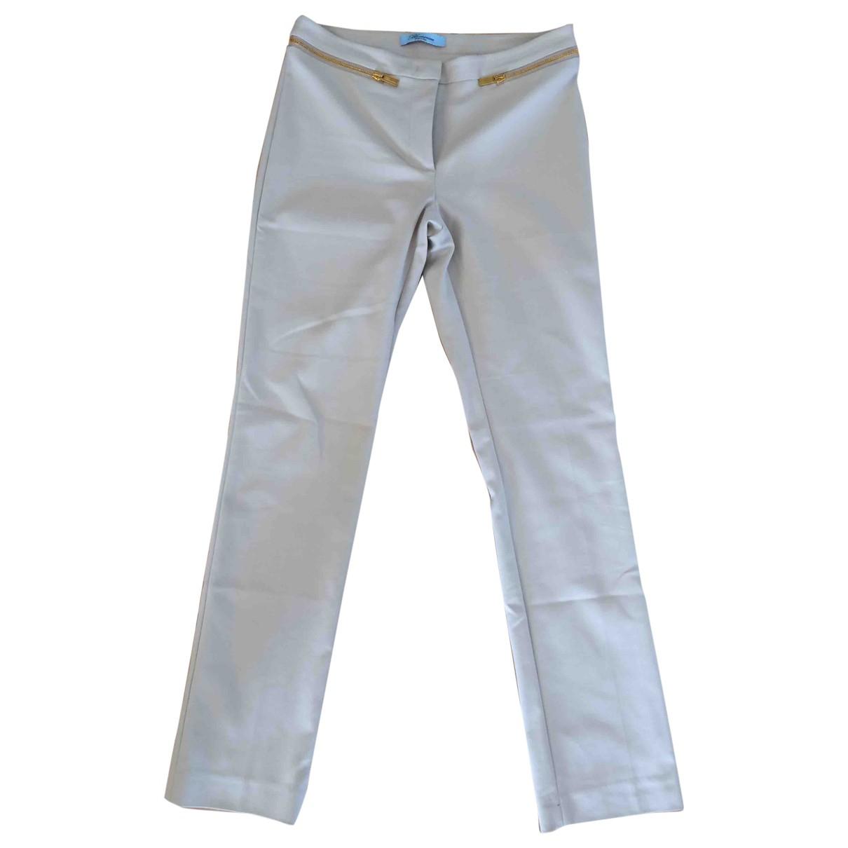 Blumarine \N Beige Cotton Trousers for Women 40 IT