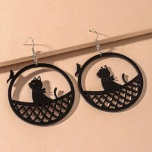 Hollow Out Cat Design Drop Earrings