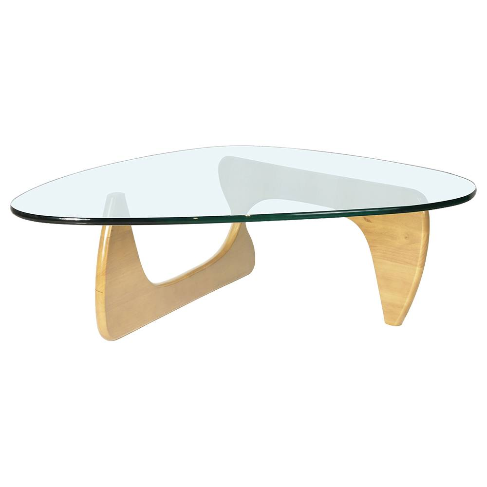 Triangular Glass Coffee Table Heat-resistance Modern Furniture For Home and Office - Brown