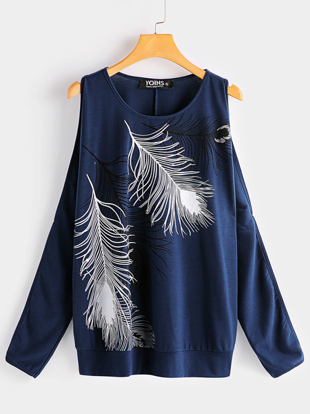 Yoins Navy Feather Print Scoop Neck Cold Shoulder Long Sleeves Tee
