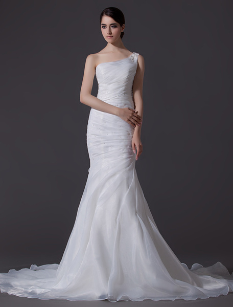 Milanoo Ivory One-Shoulder Ruched Organza Mermaid Wedding Dress