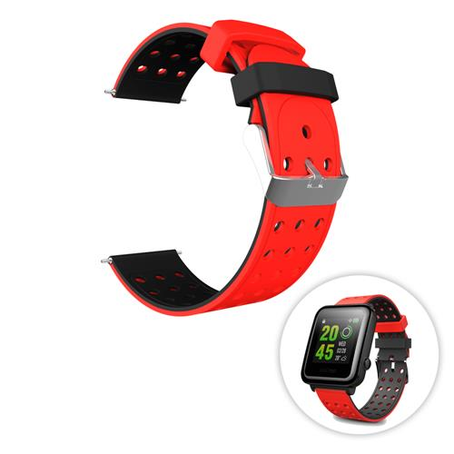 Replacement Silicon Watch Bracelet Strap 20mm Two-tone Round Hole for Huami Amazfit Bip Ticwatch 2 Weloop Hey 3S- Red+Black