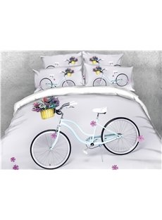 Bicycle and Flower 3D White Digital Printed 4-Piece Bedding Sets Zipper Duvet Cover with Non-slip Ties