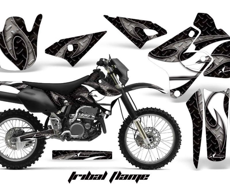 AMR Racing Dirt Bike Graphics Kit Decal Sticker Wrap For Suzuki DRZ400S 2000-2018áTRIBAL WHITE BLACK