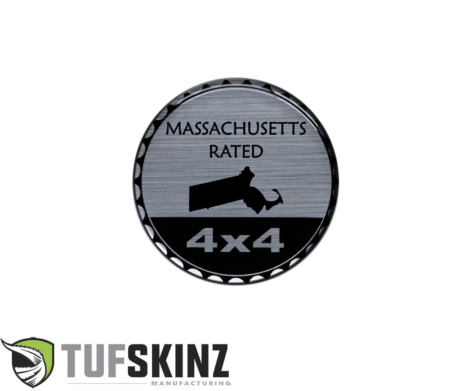 Tufskinz JEX059-DUM-136-G Rated Badge Fits Jeep 1 Piece Kit in Brushed Silver Massachusetts Rated